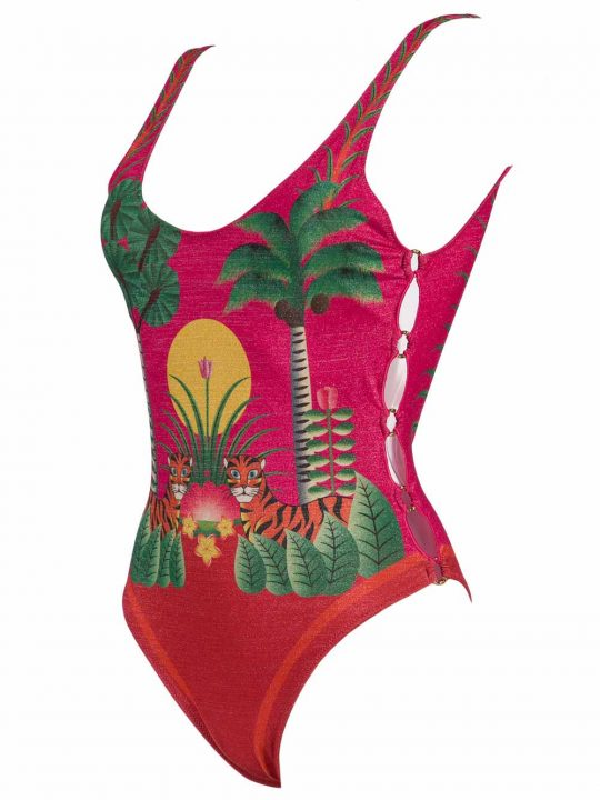 Costume Intero Donna Pin Up Rosa con Stampa Jungle - 18P3521018 (1)