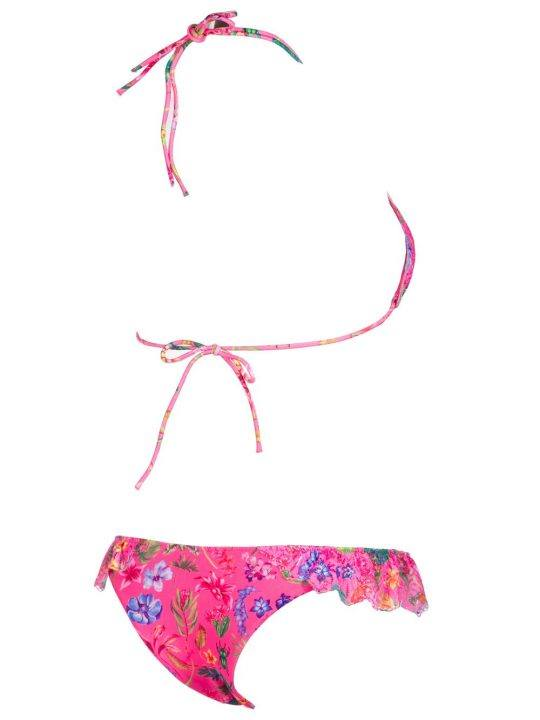 Bikini Donna Pin Up Rosa in Pizzo con Stampa Floreale - 18P060G28