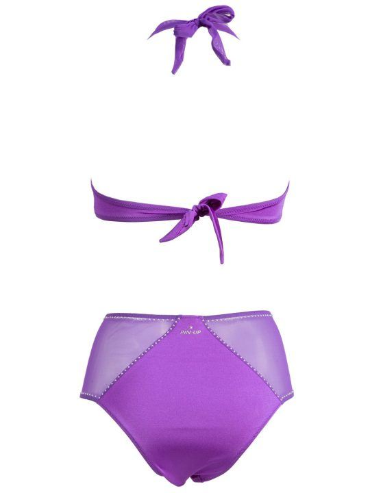 Bikini Pin Up Stars in lycra Viola con Coppe Imbottite - 19P316FA14